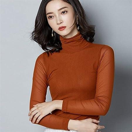 Camisa Blusa de Encaje de Manga Larga Delgada de Mujer Camisa Casual Tops Blusas Mujer De Moda Tallas Grandes de Cuello Alto de Malla (Color : Jiao Tang, Size : L): Amazon.es: