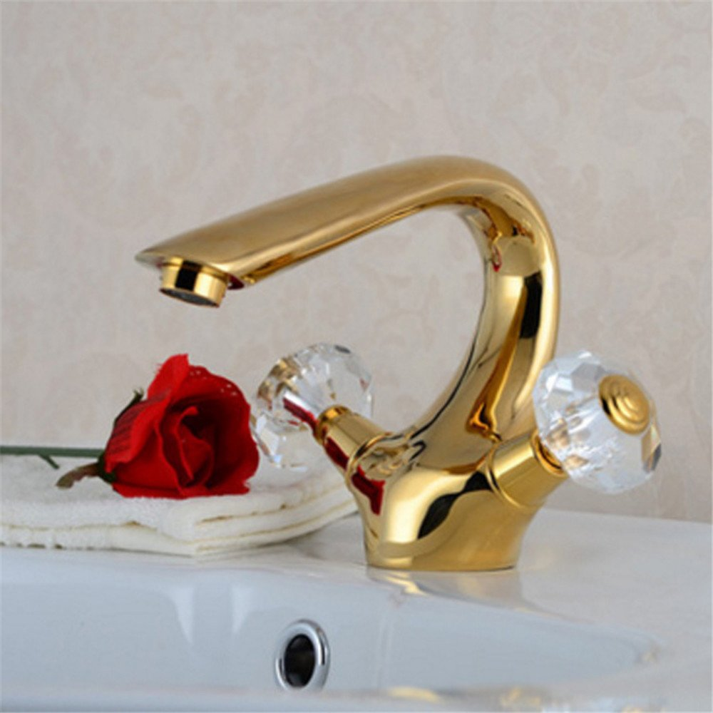 FHLYCF Basin faucet European style retro all copper golden hot and cold faucet, crystal player put bath faucet by FHLYCF Faucet