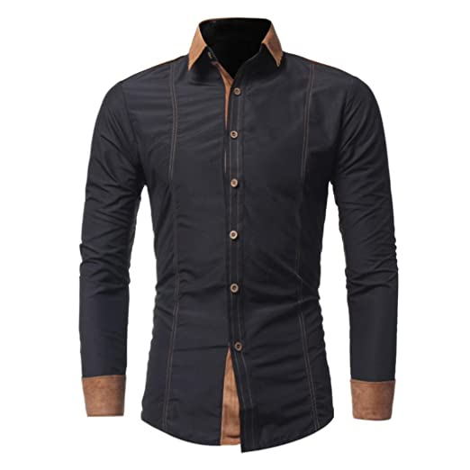 Amydong Men Shirt Fashion Solid Color Male Casual Long Sleeve Shirt