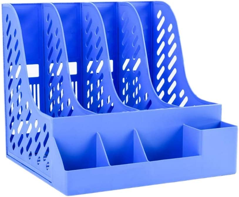 TANPAUL Desk File Organiser 4 Section with Stationery Storage Storage Organiser Box Plastic Magazine Rack Thick File Rack Holder Desktop Office School Stationery Storage Box for Magazine Document
