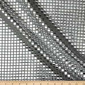Sequin Check Fabric Silver
