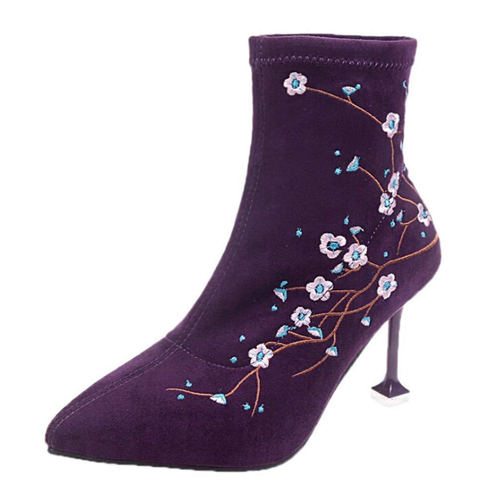 Oudan Damen Schuhe Frauen Elegant Stiefel Stiefeletten Ethnische Ethnische Ethnische Art Mode Stiletto Stiefel High Heels Stretch Stiefel WinterStiefel (Farbe   Lila Größe   35 EU) d5279c