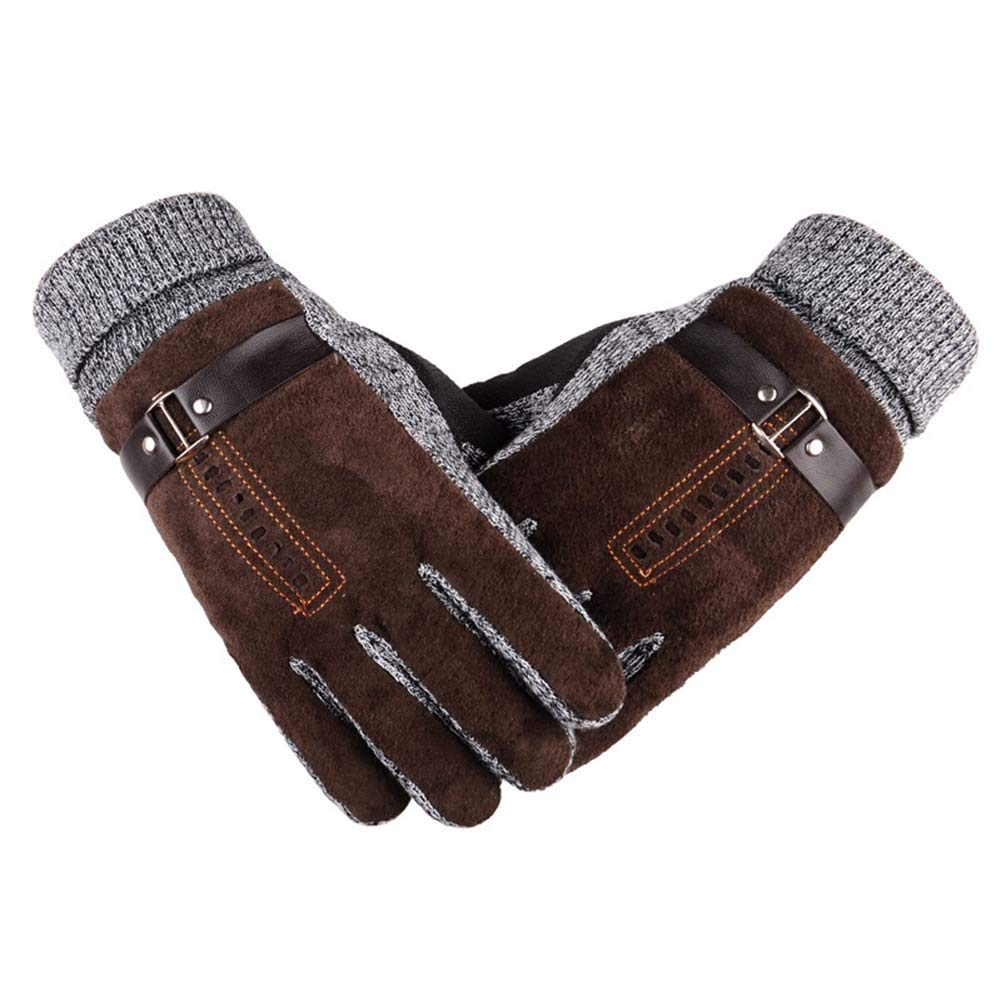 ANJUY Men's Suede Leather Mittens Cold Weather Daily Dress Driving Activewear Gloves