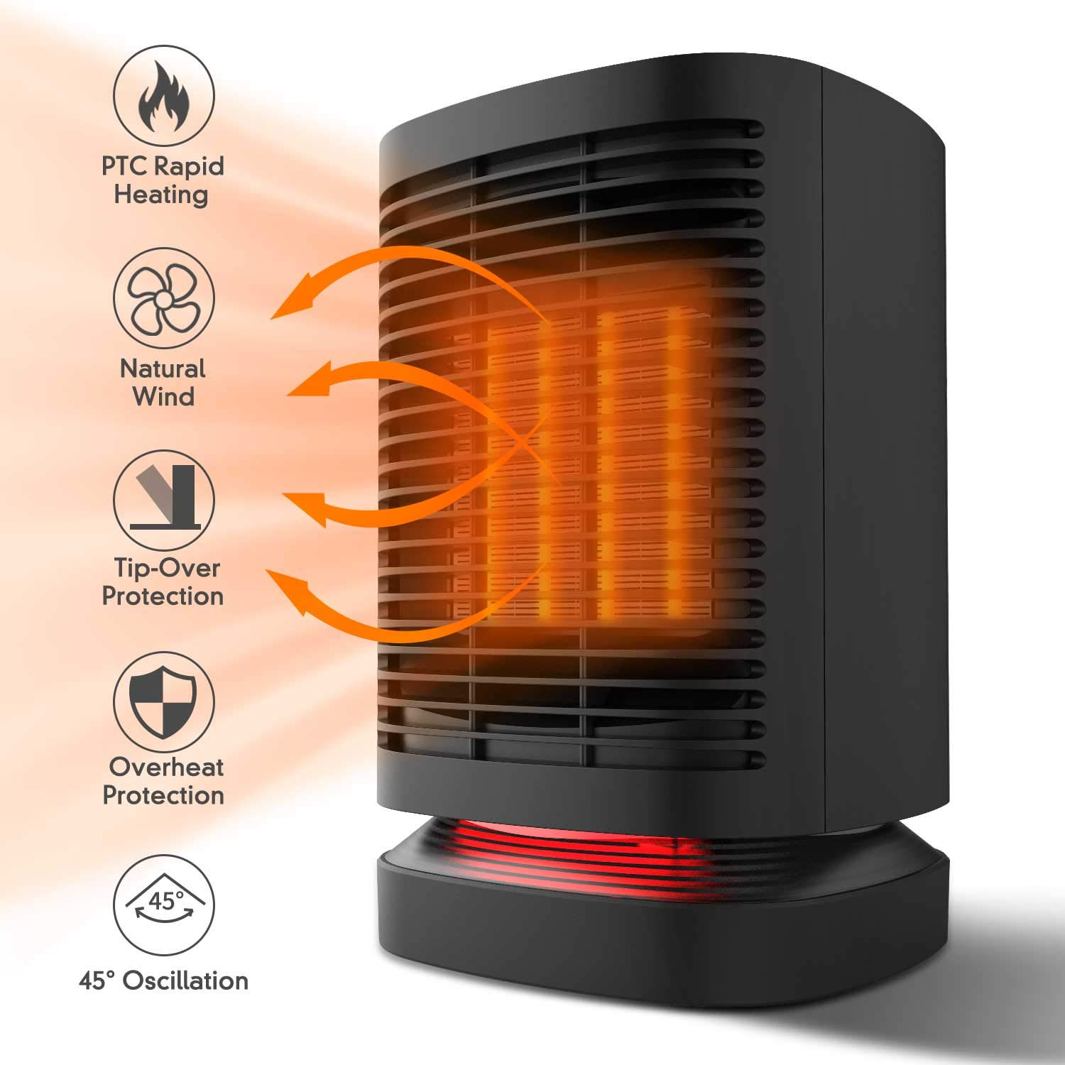 Portable Space Heater, 950W Electric Mini Air Heater, PTC Ceramic Personal Fan Heater with Over-heat and Tip-over Protection for Home and Office
