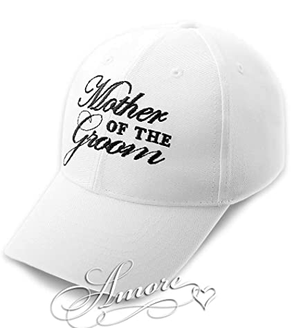 b6679d02 Amazon.com: MOTHER of the GROOM Wedding Baseball Cap White Hat with Black  Embroidery 100% Cotton: Everything Else
