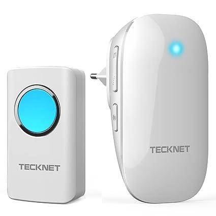 TECKNET-Timbre Plug-in Sin Hilos Inalámbrico,Transmisor Autoalimentado, Resistente Al Agua