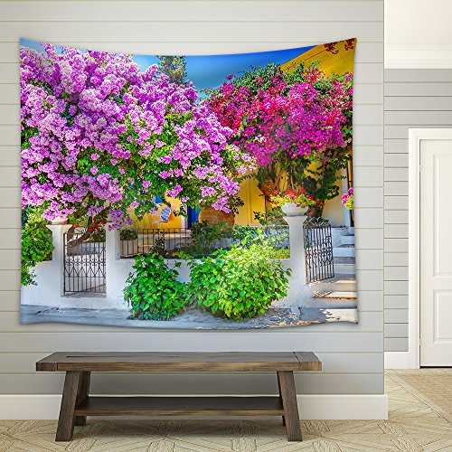 House with Bougainvillea Fabric Wall Tapestry