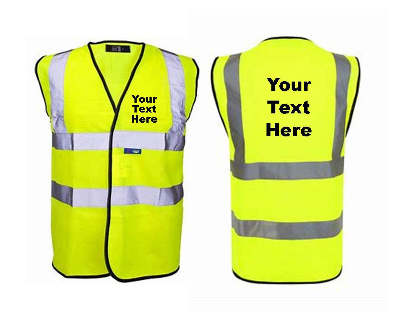 PERSONALISED ADULTS HI VIS VEST ADD YOUR OWN TEXT SMB Novelties