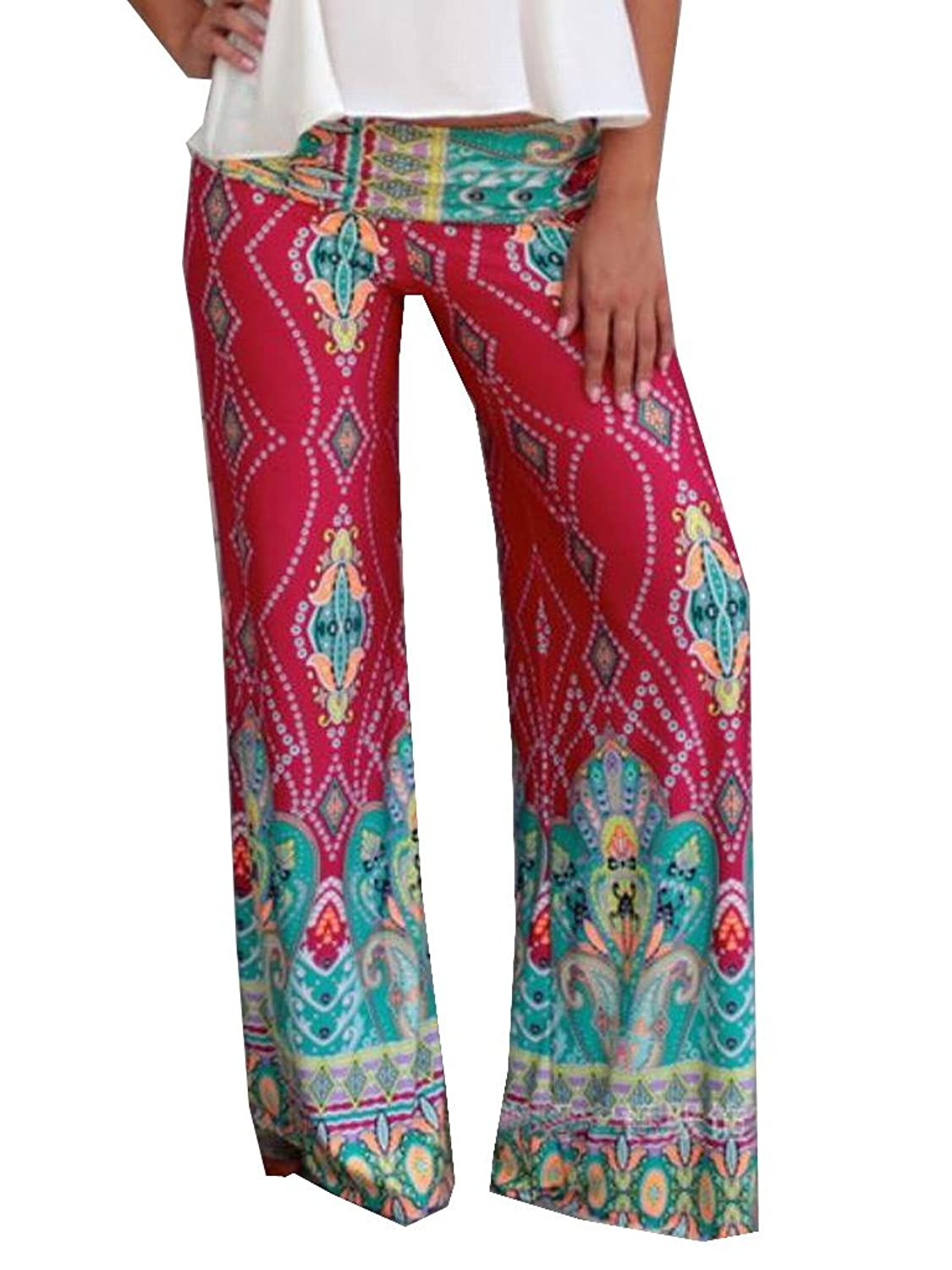 NQ Women's Straight Loose Multicolored Palazzo Wide Leg Pants 85%OFF