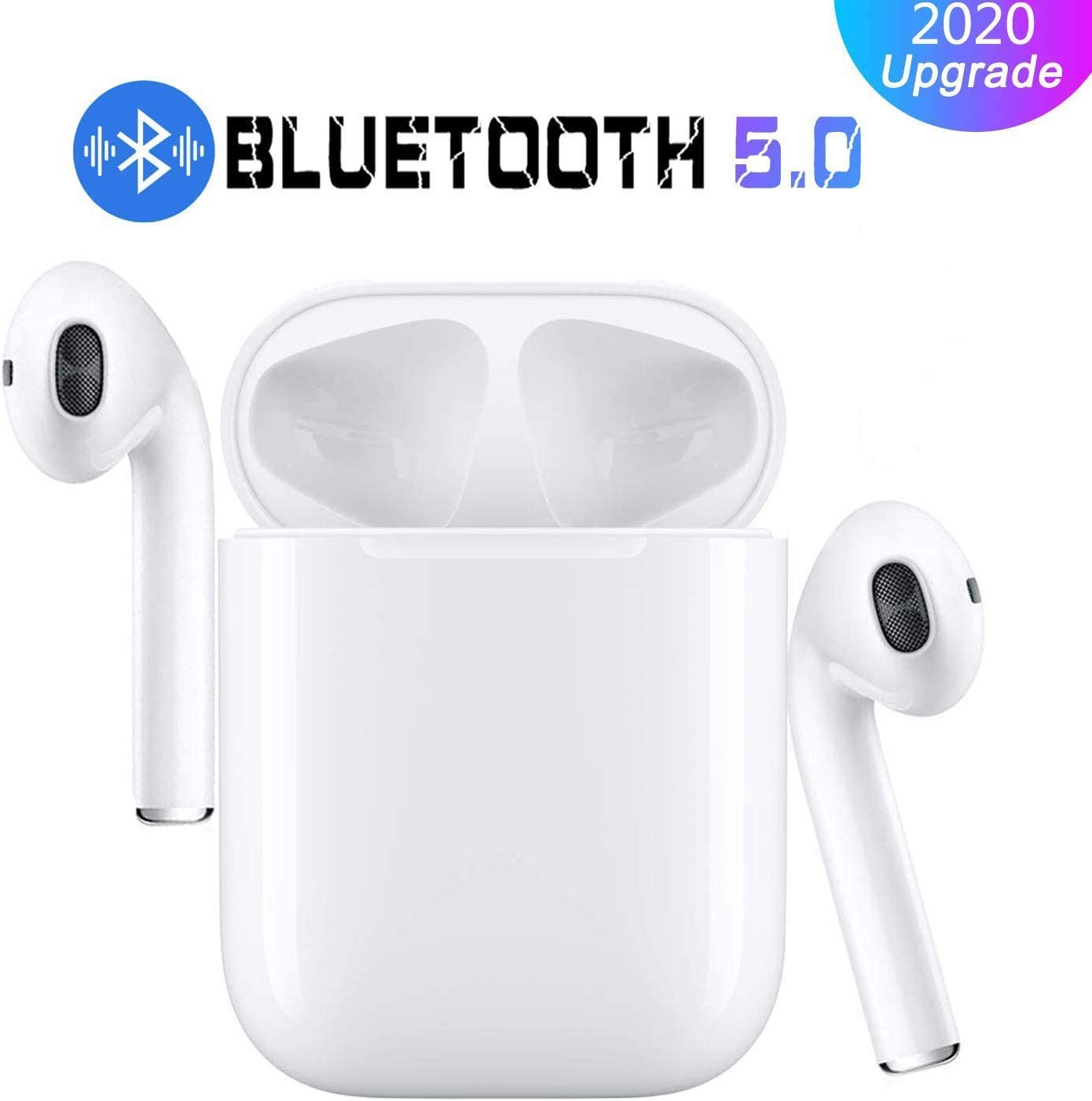 Bluetooth Wireless Earbuds Noise Canceling Sports Headphones with Charging Case IPX5 Waterproof Stereo Earphones in-Ear Built-in HD Mic Headsets for iPhone Android iPhone