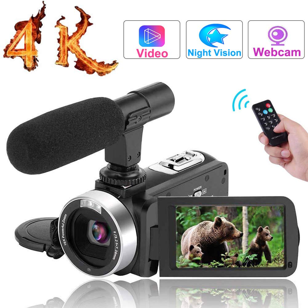 Vlogging Camera for YouTube 30MP Digital Camera 3.00'' Touch Screen Night Vision Pause Function with Microphone ... (black2)