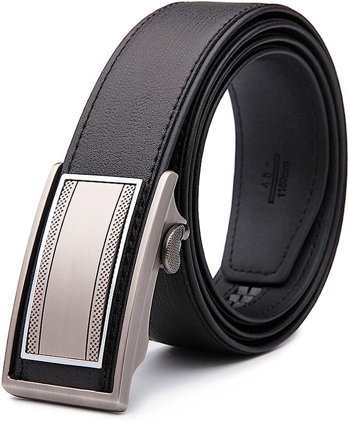 Ideal Men/'s Automatic Buckle Belts Ratchet Genuine Leather Belt Strap Waistband
