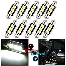 "CCIYU 10 Pack White 6418 CANBUS Interior&LED License Plate Lights Bulbs Festoon ForMercedes/ 37mm 38mm 39mm 6413 6418 6411 C5W Festoon 1.50"" For Car interior Dome/Map/Trunk/License plate light"