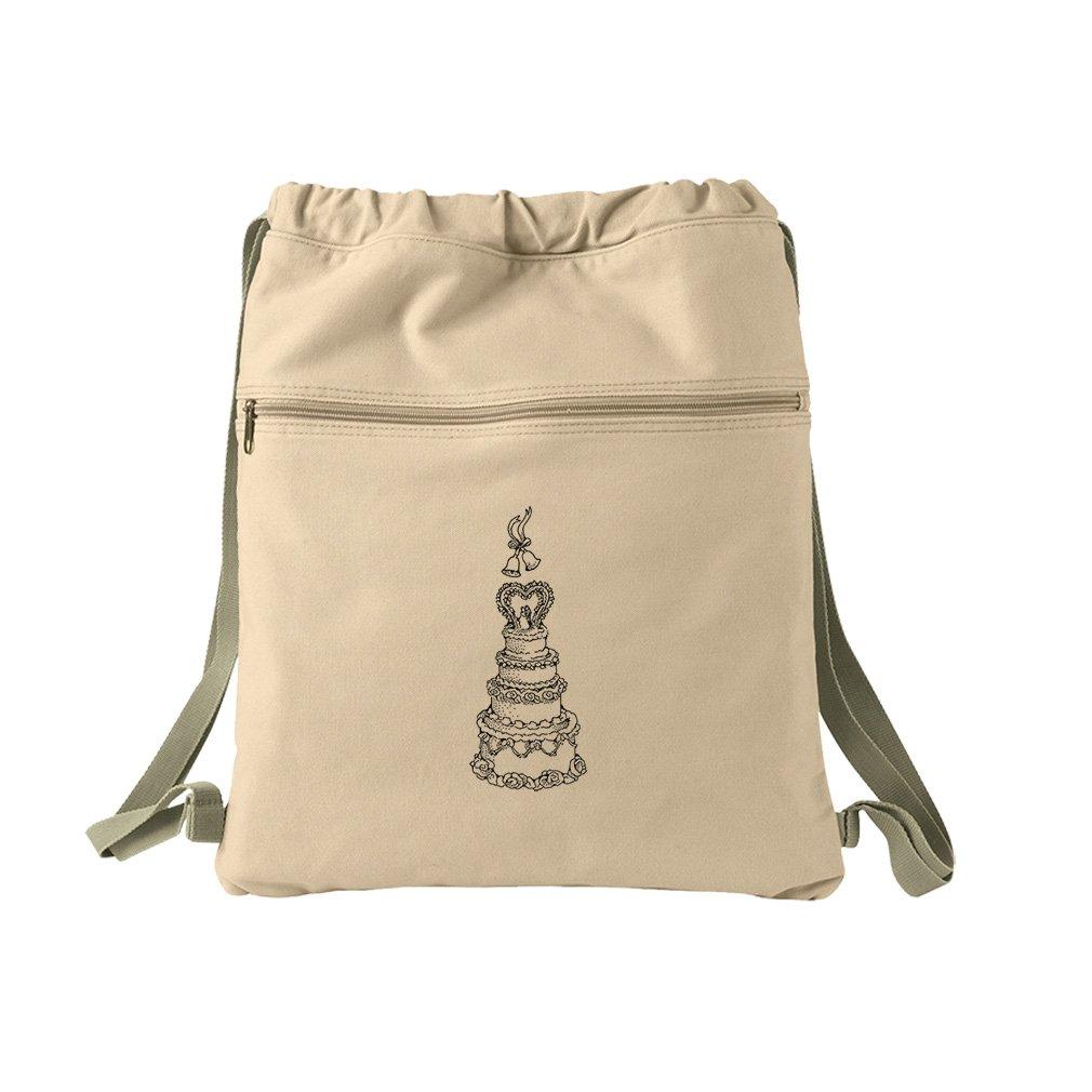 Wedding Cake Vintage Look Canvas Dyed Sack Backpack Bag