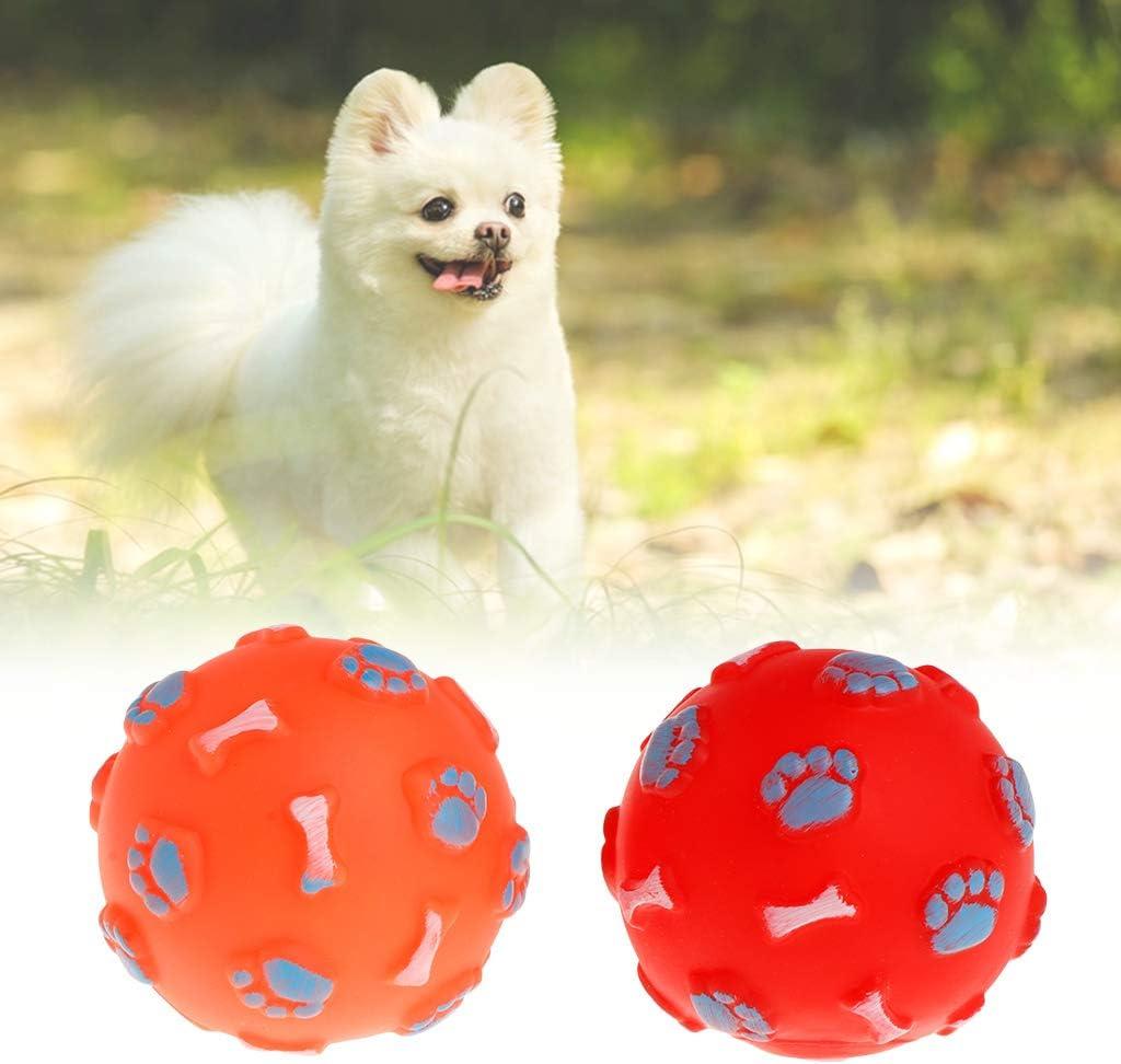 suministros para masticar no t/óxicos divertida cachorro Pelota de goma con huella de hueso chirriante perro para gato gato