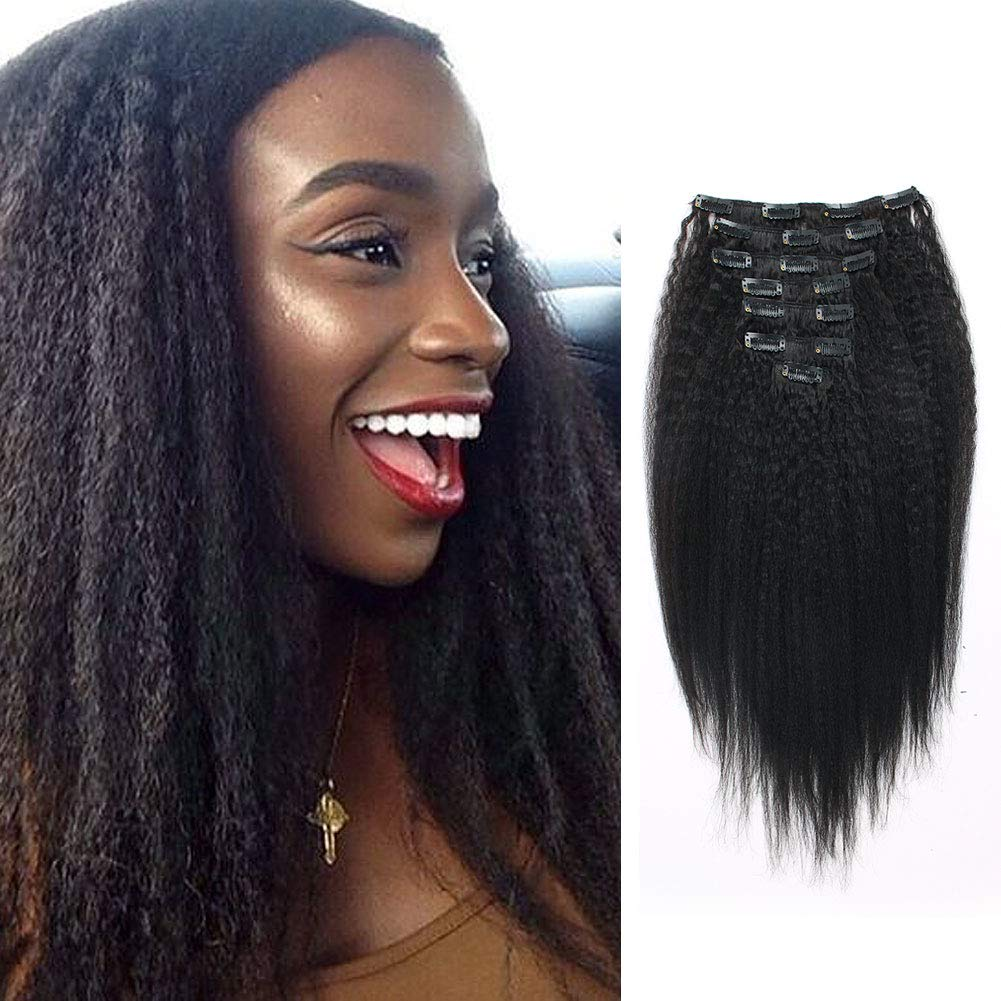 Lovrio Kinkys Straight Hair Clip on Hair Extensions for Black Women Brazilian Virgin Double Wefts Human Hair 7 Pieces 120g with 17 Clips 14 inch