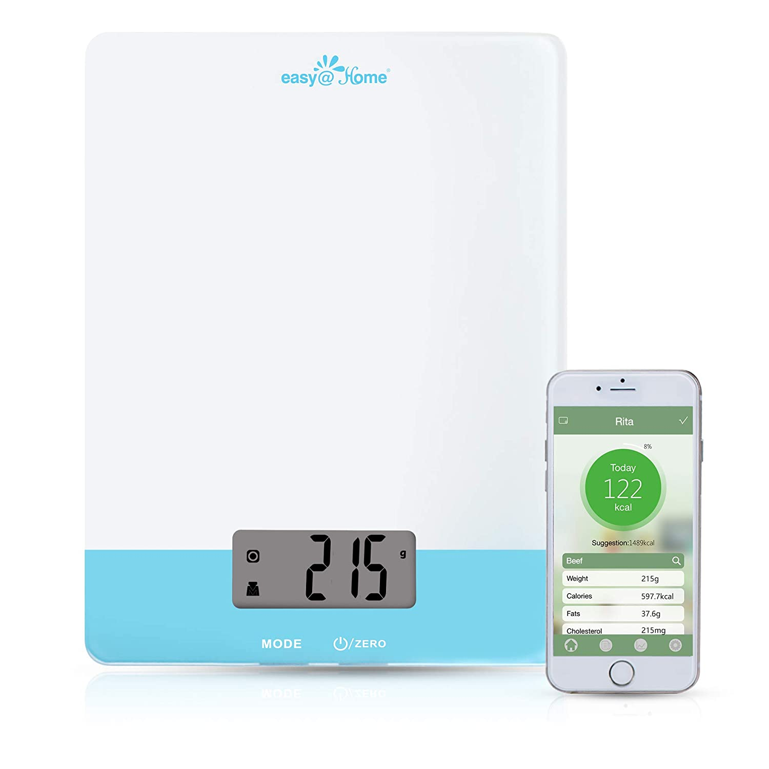 Easy@Home Digital Food Kitchen Scale with Smart nutrition calculator APP, Professional Nutritional Calculator – Weight, Calories, Fat, Cholesterol, Carbohydrates - Diet Nutrient Diary Feature,ENC203