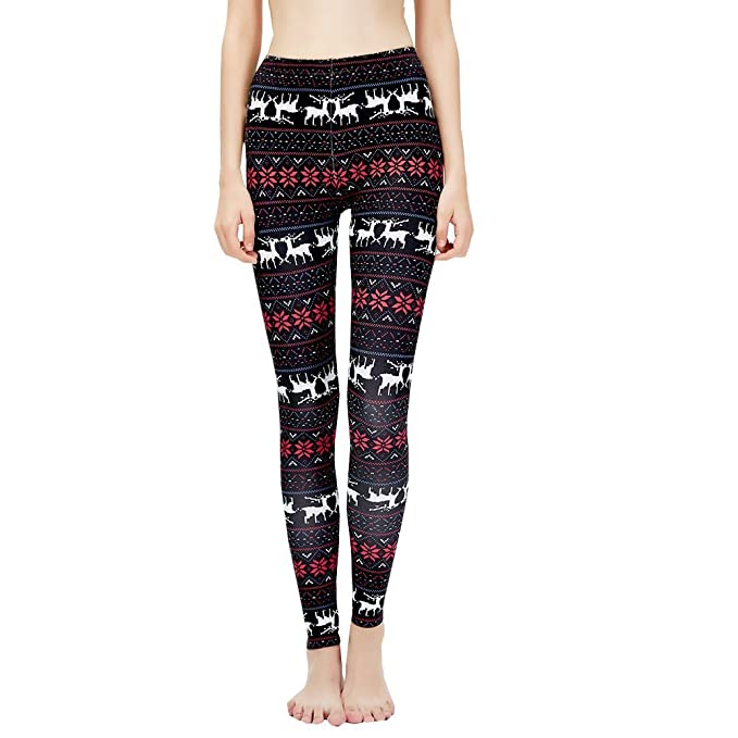 d41a2616e98ae2 Sexyinlife Women's Christmas Leggings Snowflake Printed Stretchy High Waist  Leggings Brushed Pants for Fall/Winter
