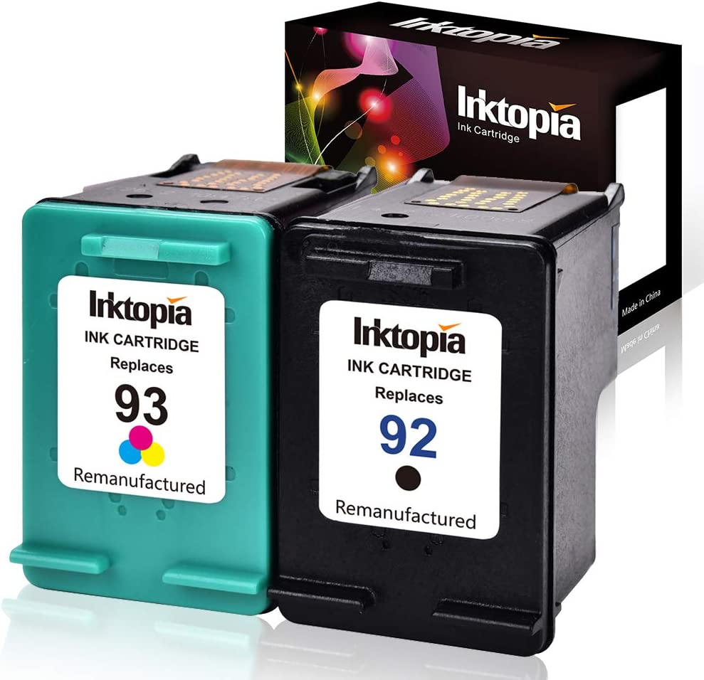 Inktopia Remanufactured Ink Cartridges Replacement for HP 92 and 93 C9513FN C9362WN C9361WN for HP Photosmart 7850 C3150 C3180 Deskjet 5440 5420 PSC 1510 2525 Printer (1 Black, 1 Tri-Color) 2 Pack