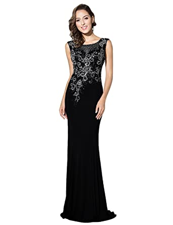Sarahbridal Mermaid Long Scoop Prom Dresses Jersey Elegant Party Gowns Dress with Applique for Women SLX330