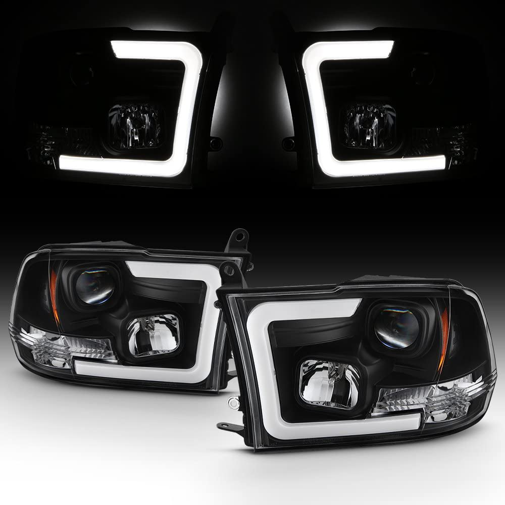 For 2009-2018 Dodge Ram 1500 2500 3500 Truck LED Tube Black Projector Headlights Left+Right Replacement