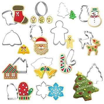 Cupcinu Juego de moldes para Cortar Galletas navideñas Herramienta para Hornear de Acero Inoxidable Muñeco de Nieve árbol de Navidad Santa casa Forma 1set ...