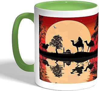 كوب سيراميك للقهوة بتصميم لوحة فنية ، لون اخضر