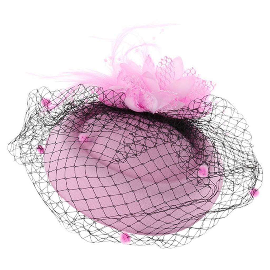 Alihao Fascinator Hats for Women Flower Feather Hats with Veil Wedding Party Headdress