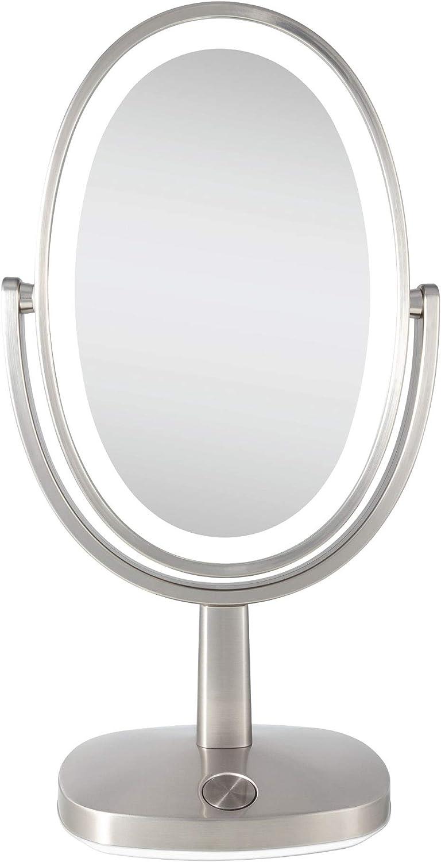 Zadro Newport Ultra Bright Adaptive Color Led Vanity Mirror 5x 1x Satin Nickel