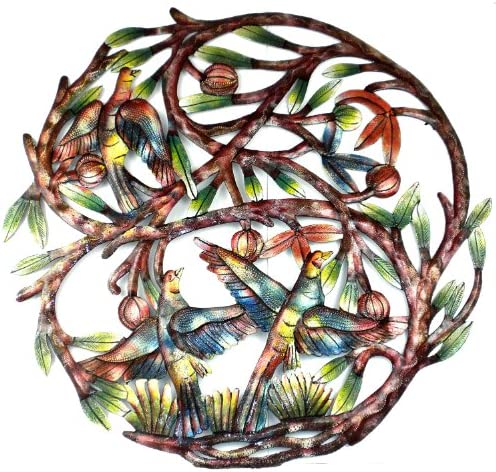 Global Crafts 24 Recycled Hand-Painted Haitian Metal Wall Art Tree of Life, Tree with 3 Birds