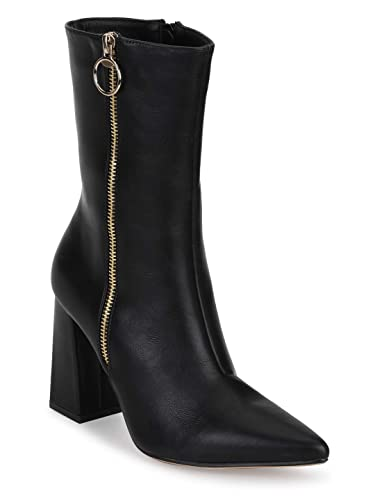 4bf5c0f9e8f1 TRUFFLE COLLECTION Black PU Sideway Zipper Pointed Toe Block Heel Ankle  Boots  Buy Online at Low Prices in India - Amazon.in