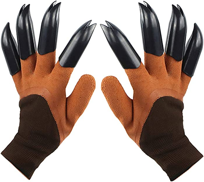 Garden Genie Gloves with Claws(2019 Upgrade), Waterproof and Breathable Garden Gloves for Digging Planting, Best Gardening Gifts for Women and Men (Brown Claw 1 Pairs)