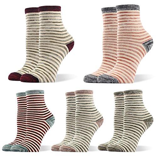 RioRiva Women Cotton Casual Tube Socks 1/2 Crew Colorful & Comfortable Designs Pack of 5 (US women's shoe size:US 5.5-9, WSK107- classic stripe)