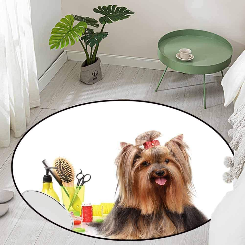 Round Office Chair Floor Mat Foot Pad Yorkshire Terrier with Stylish Hairdressing Equipment Mirror Scissors Diameter 66 inch Low-Profile Mats