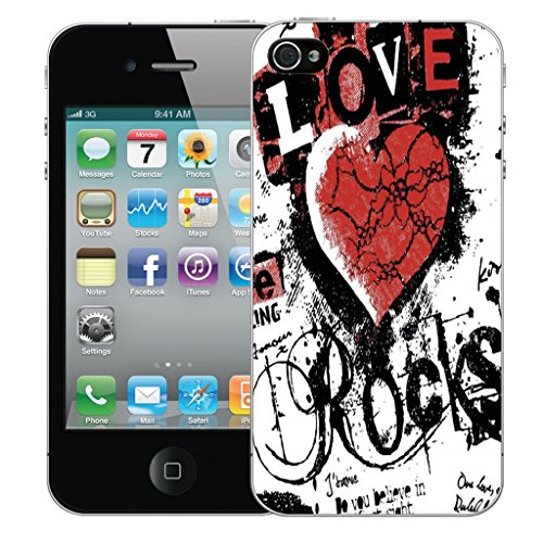 Mobile Case Mate iPhone 5c Silicone Coque couverture case cover Pare-chocs + STYLET - Love Rocks Red pattern (SILICON)