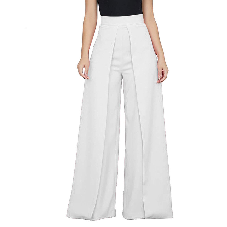 White Lishfun Casual High Waist Loose Wide Leg Pants Women Solid Patchwork Pants Trousers Female Elegant Back Zipper Palazzo Pants