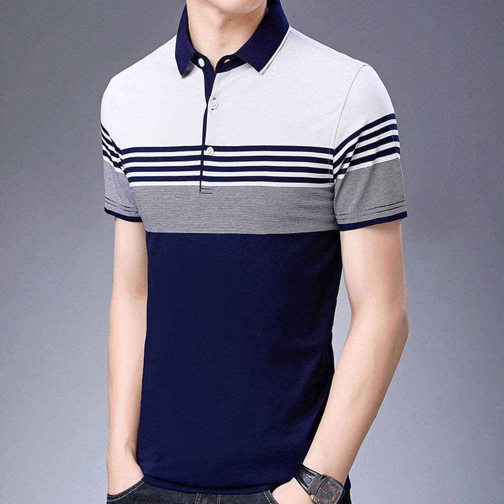 EVEDESIGN Mens Casual Striped Sport Polo T-Shirt Summer Basic Short Sleeve Cotton Shirts