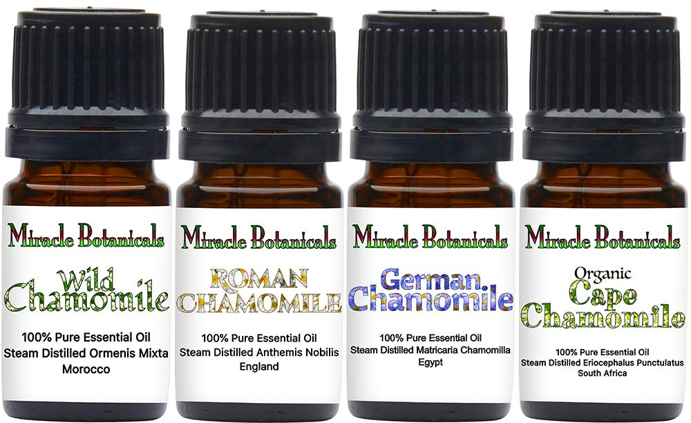 Miracle Botanicals Chamomile Essential Oil Sampler - Set of 4 100% Pure Therapeutic Grade Essential Oils - German Chamomile, Roman Chamomile, Organic Cape Chamomile, and Wild Chamomile -(4)5ml by Miracle Botanicals
