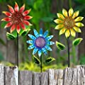 """Exhart Shimmering Garden Flower Stake, Lacquered Metal, 18"""" Wide 60"""" High"""