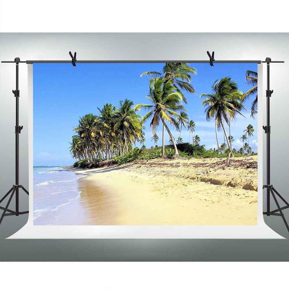 FHzON 7 x 5ftトロピカルビーチ写真背景Coastal Coconut Tree Holiday Backdrop for YouTube Backdrops Seasideウェディングテーマパーティー写真ブース小道具Studio gyfh420   B07F7R2W2C