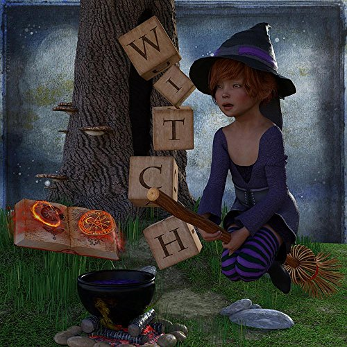 Quality Prints - Laminated 24x24 Vibrant Durable Photo Poster - The Witch Halloween Magic Book Hexenbesen Mysterious Atmosphere Mystical Girl Fairy Tales Fly Sky Boiler Tree -
