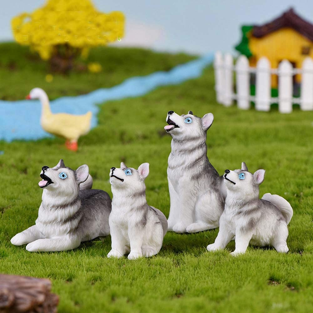 SPDD Resin Dog Animal Figurines Fairy Garden Bonsai Micro Landscape Dollhouse Ornaments Terrarium Decor Accessories Home Decor(4pcs)