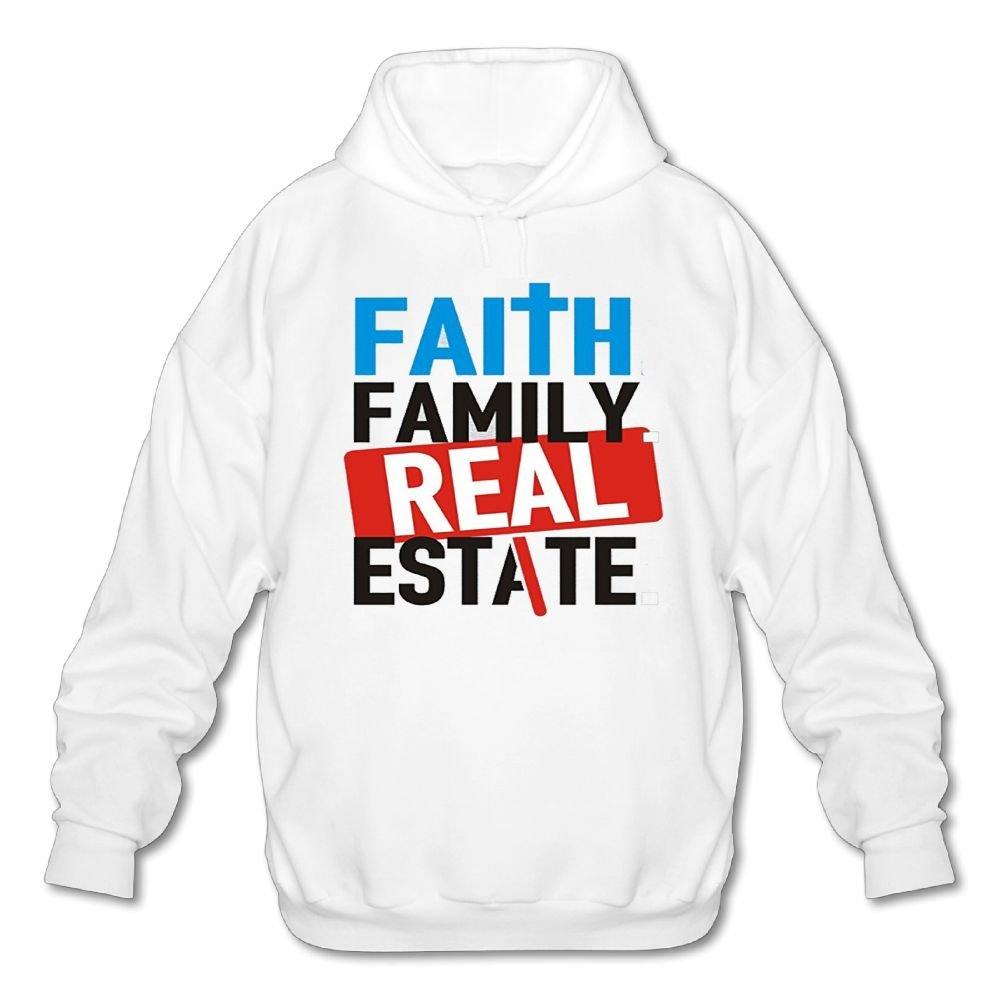 Mens Long Sleeve Cotton Hoodie Faith Family Real Estate Sweatshirt
