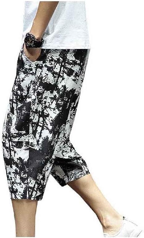 cheelot Men Printing Chinese Style Summer 3/4 Pants Palazzo Wide Leg Pants