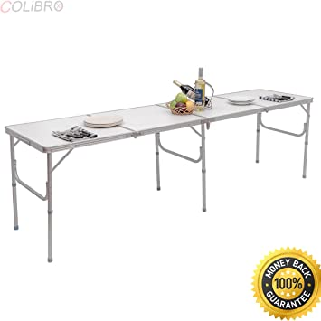 Amazon.com: COLIBROX--8FT Mesa plegable de aluminio para ...