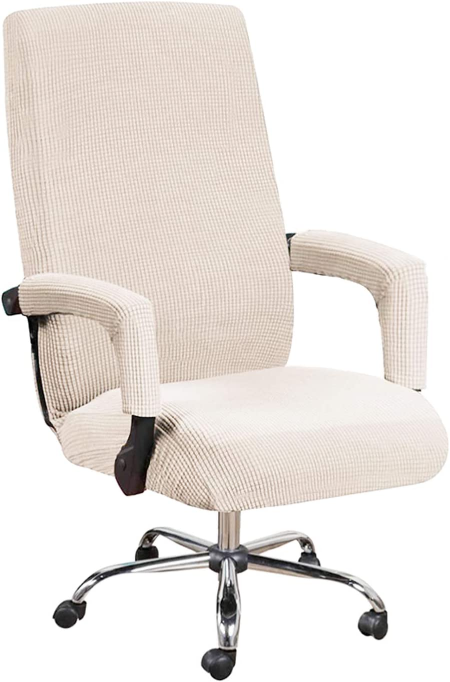 GAEA.TEX Office Chair Cover Computer Chair Boss Swivel Chair Slipcover Durable Stretch Soft Protector with Arm Covers (Large, Natural)
