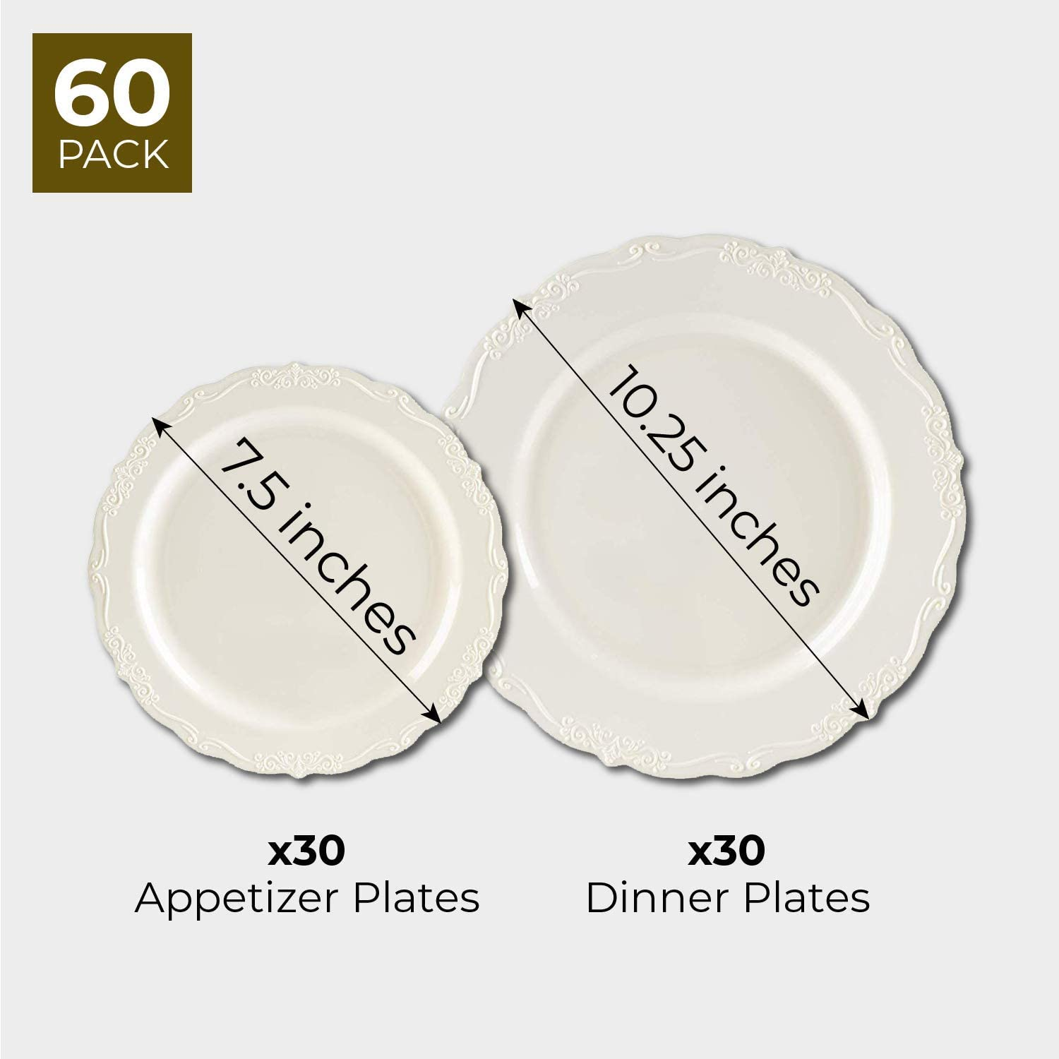 30 Dessert and 30 Dinner Plates Vintage Plastic Plates 2 Sizes 7.5 Inches and 10.25 Inches Cream with Fine Detailing 60-Pack Disposable Dinnerware Elegant Place Setting