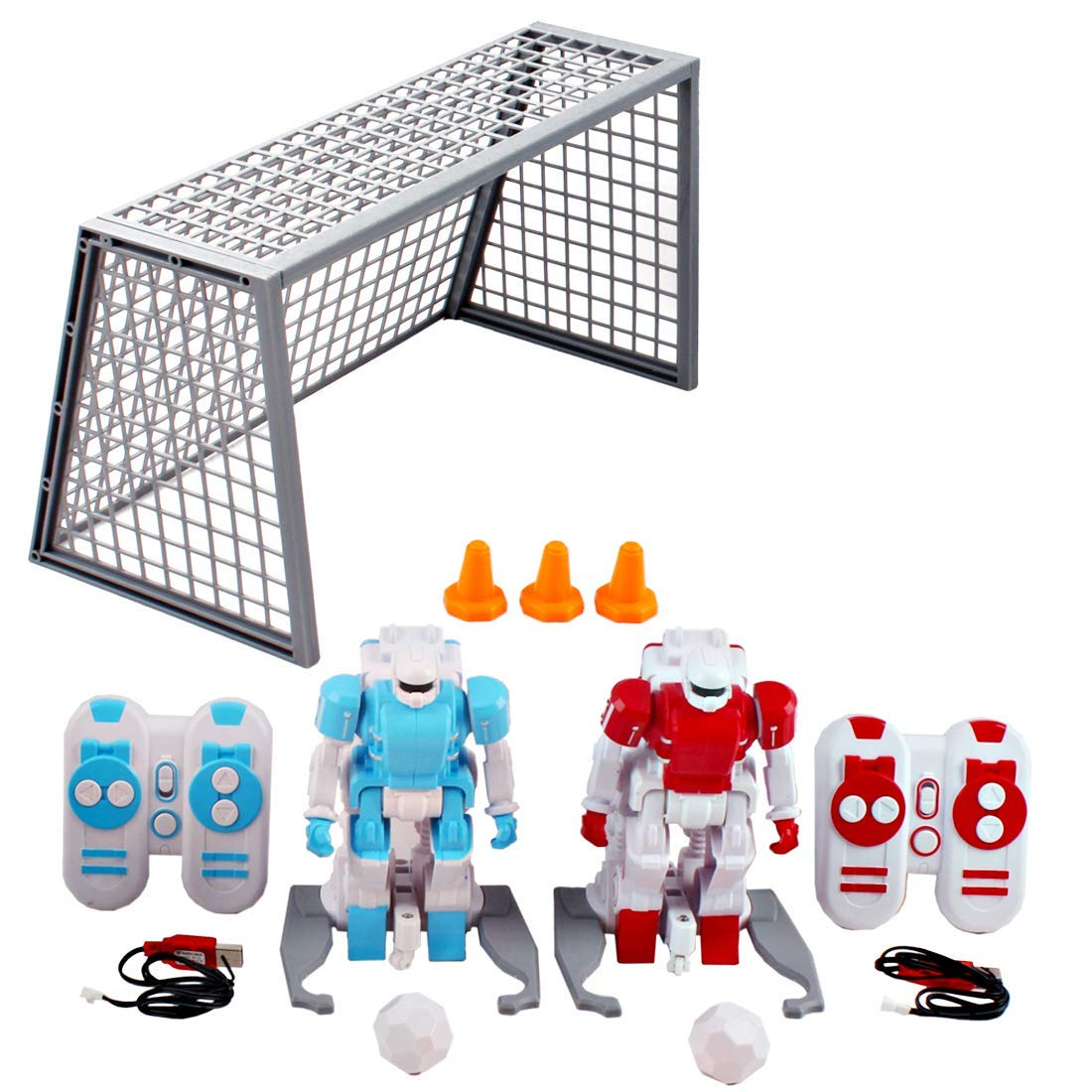 Soccer Balls and Accessories Included deAO 2.4GHz Kids Interactive Remote Control Robot Football Player Set with Goal Posts