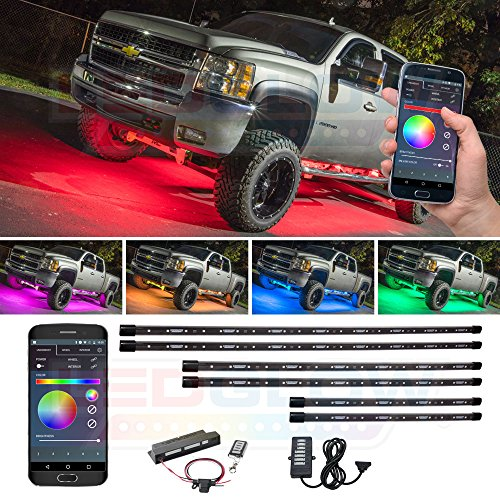 LEDGlow 6pc Bluetooth Million Color Truck LED Underbody Underglow Accent Lighting Kit - Smartphone App - Courtesy Lights - Create Any Color - Water Resistant - Control Box & Wireless ()
