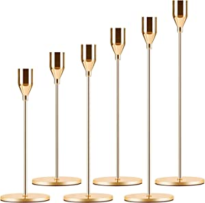 Candle Holder 3 in 1 Set Candlestick Holders Fits 3/4 inch Thick Taper Candle&Led Candles for Wedding,Dining,Party,Home Decoration (6, Gold)